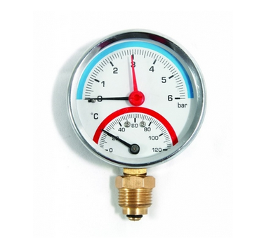 """- Термоманометр радиальный AS GRUPPE с клапаном 80*1/4"""""""