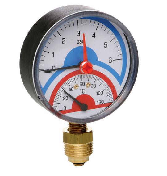 """- Термоманометр радиальный ICMA с клапаном 1/2"""" (258)"""