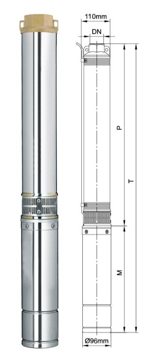 Насос AQUATICA 0,75кВт Н 105(90)м Q 55(30)л/мин Ø96мм