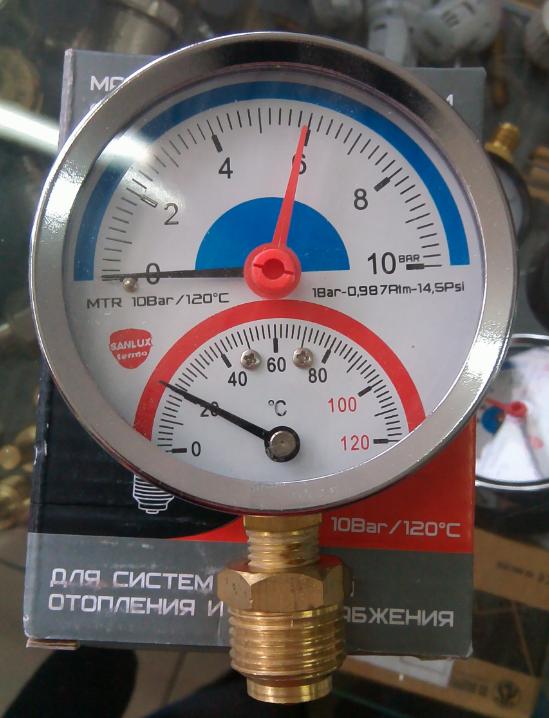 - Термоманометр радиальный SANLUX termo Ø80 1/4'