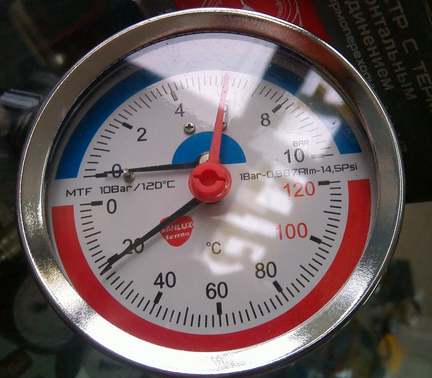 - Термоманометр фронтальный SANLUX termo Ø80 1/4'